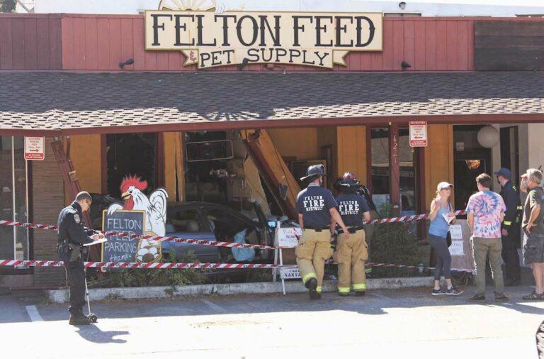 Vehicle plows into Felton Feed
